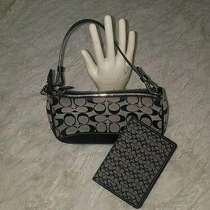authentic coach purse with passport case